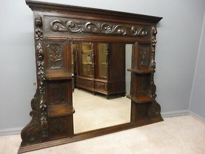 Large Antique Oak 19Th Century Mirror