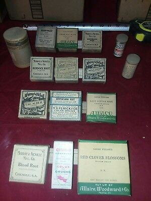Lot of 15 Murray &Nickell A.W. etc. Antique Medicine Apothecary bottle box herb