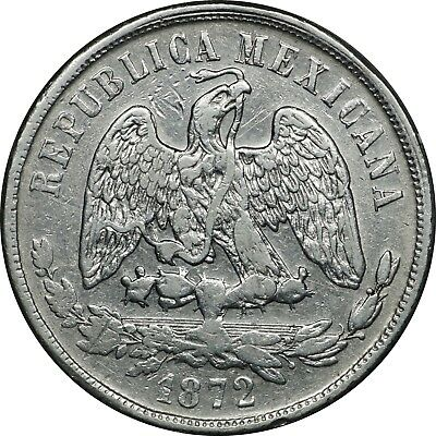 1872 Mo M. Mexico 1 Peso, Extremely Fine XF. KM # 408.5