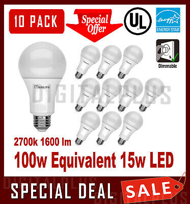 100W Replacement 15W LED Light Bulbs 1600L Warm White 3000K A19 Non-Dimmable E26