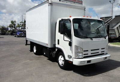 2012 Isuzu NPR 14FT DRY BOX CARGO BOX TRUCK WITH PULL OUT RAMP 98174 Miles White