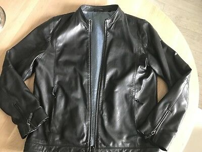 0dca25aa794f2 TED BAKER MENS Black Leather Jacket Size 5  44