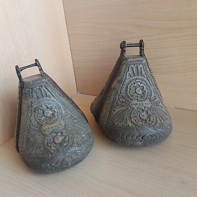 47#Old Antique Islamic / Ottoman / Persian Carved Horse Wood Stirrups Iron Inlay