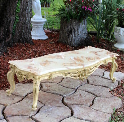 Vintage French Victorian Coffee Table Faux Marble Top