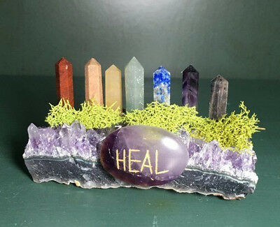 Amethyst Druze, Chakra Points,Unique Cluster, Terminated Chakra Stone,B