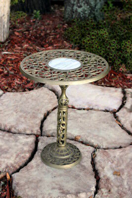 Vintage pierced brass marble top inlay pedestal table