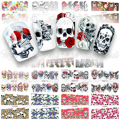 Day of the Dead, Sugar Skulls, Nail Water Decals, Full Nail Wraps, Halloween