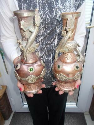 Pair Of Striking Oriental Copper & Silver Plate Temple Vases Dragons Lizards