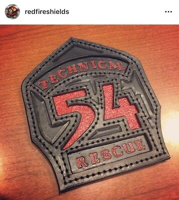 Red Fire Shields - Custom Hand-Made Leather Firefighter Shields