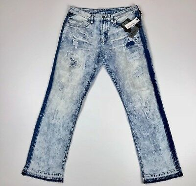 1bc0be68 Buffalo Mens Jeans Six-X Slim Straight Stretch Bleached Unhemmed Size 36x30