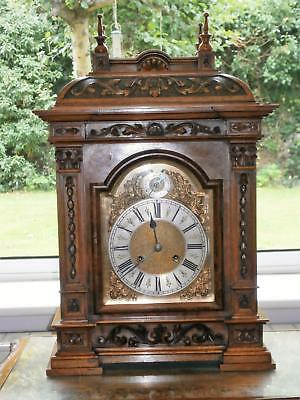 Carved Figured Walnut Ting Tang Bracket Clock Serviced and Overhauled