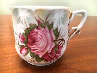 Victorian MUSTACHE CUP — Hand Painted Pink Roses / Made in Germany