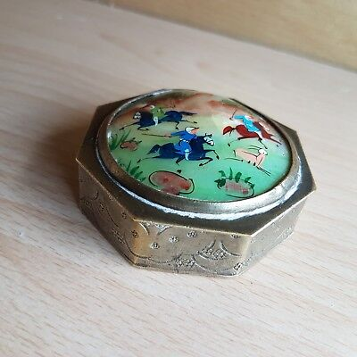 62#Old Antique Islamic Persian Oriental Pill Box Enamel Mother of Pearl Painting