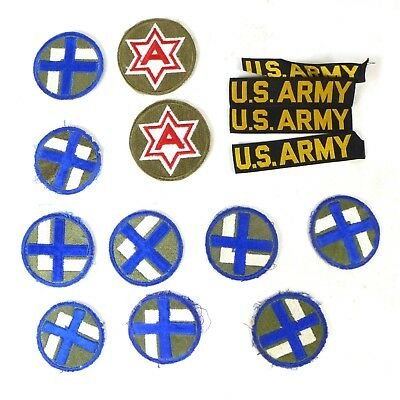 Lot of Vintage U.S ARMY Military & Misc Clothing Blue Round Embroidered Patches
