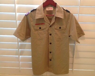 BSA uniform webelos Boy Scout Shirt sz Youth Large khaki w/ loops