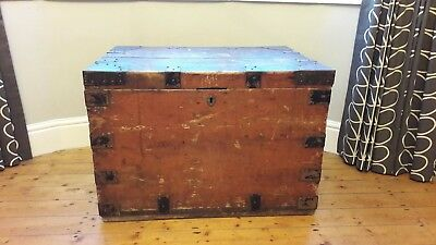 Vintage wooden chest / trunk with metal handles