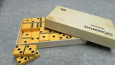 VINTAGE Catalin Bakelite 28 Marblelike Dominoes Set EXTRA THICK FOR JEWELRY