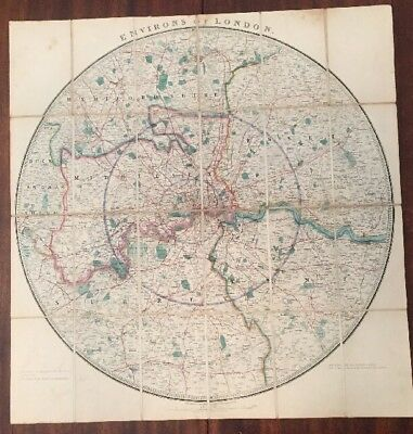 19th Century James Wyld Environs Of London Folding Map Colored Beautiful Cloth