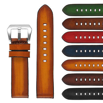 StrapsCo Vintage Faded Mens Thick Leather Watch Band - Quick Release Strap