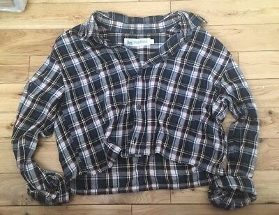 Blue Check Crop Boyfriend Renewal @ URBAN OUTFITTERS Vintage Shirt 8-10