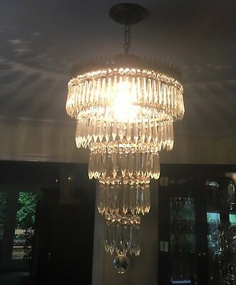 Brass Crystal Wedding Cake Chandelier 3 Light 5 Tiers Gorgeous