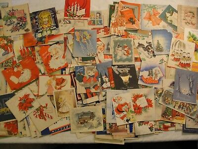 VERY LARGE LOT OF 332 VINTAGE CHRISTMAS GREETING CARDS; 1930's 1940'S 1950'S