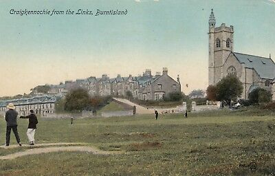 Scottish Postcard. Craigkennochie from Golf Links, Burntisland. Golfer Fife 1910