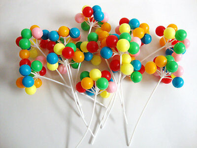 20 X Plastic Bunch of Balloons Cake Cupcake Toppers Decoration Up Birthday Party