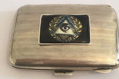 Usual Antique Bham Silver Cigarette Case With Masonic Front Scrap or Repair