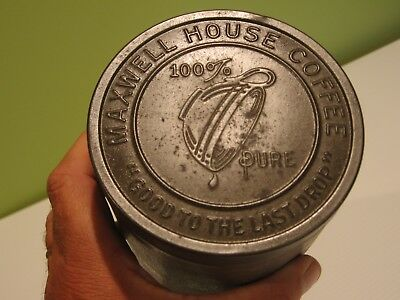 Maxwell House Coffee Can Metal Tin Embossed Lid 1920's  General Store  Last Drop