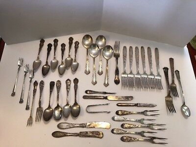 VINTAGE SILVER PLATE FLATWARE MIX LOT OF 40 Turn Of The Century