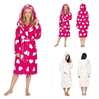859780f269 Womens Forever Dreaming Ladies Heart Design Hooded Snuggle Fleece Dressing  Gown