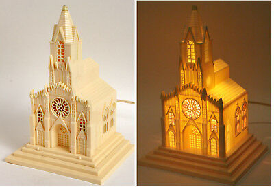"""9.5"""" Raylite Electric Lighted Church Plastic Xmas Decor Stain Glass NO Music vtg"""