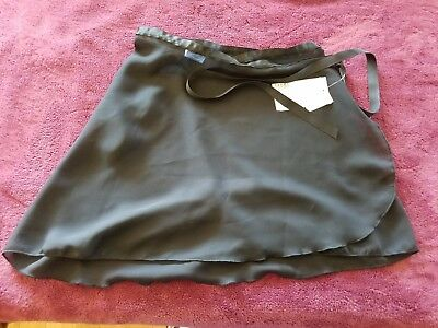 Capezio Dance Skirt Adult M/L Sheer Wrap Around BLACK NEW WITH TAGS