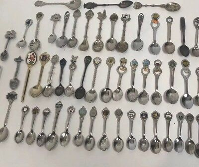 Lot Group of 50+ Souvenir Spoons Various Maker different states and companys