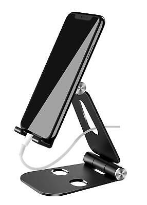 Cell Phone Stand Foldable Alloy Mount Holder with Adjustable Angles Black
