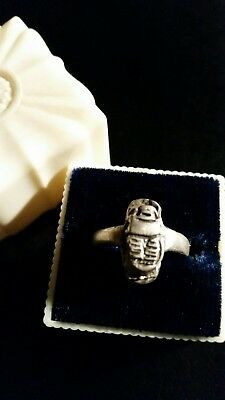 Antique/Vintage STERLING SILVER Handcrafted Ancient Egyptian Scarab Ring