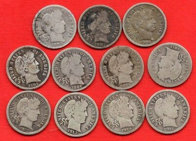 11 x USA BARBER DIME SILVER COINS. 1900 - 1916 UNITED STATES OF AMERICA 10 CENTS