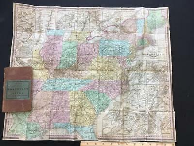 """1837 TANNER'S AMERICAN TRAVEL GUIDE U.S.""""LARGE MAP,INDIAN,RAILROAD,battlegrounds"""