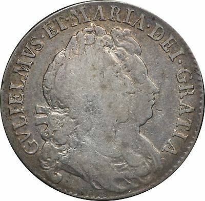 1691 UK Great Britain Silver Half Crown, KM# 477, William & Mary, VG, Very Good