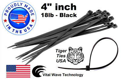 "1000 Black 4"" inch Wire Cable Zip Ties Nylon Tie Wraps 18lb USA Made Tiger Ties"