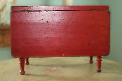 Excellent 19th c. Sheraton Child's Dropleaf Table in Original Chinese Red Paint