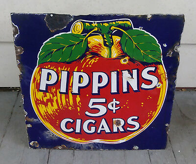 Scarce Early Pippins 5 Cent Cigars Porcelain Sign Country Store Tobacciana Apple
