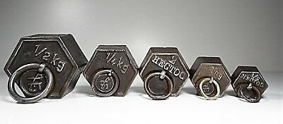 Antique Lot of 5 Iron Scale Weights 500 / 250 / 200 / 100 / 50 GRS