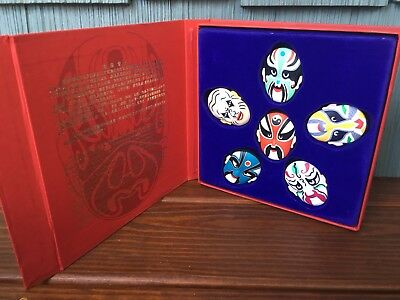 Set Of 6 Painted Faces Of Chinese Opera Magnet Set, IOP