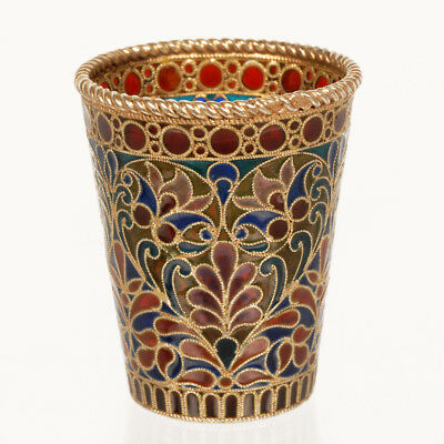 Antique Imperial Russian Ovchinnikov 84 Silver Gilt Plique-A-Jour Enamel Beaker