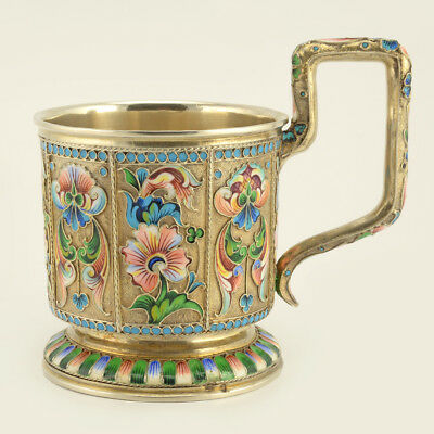 An Antique Russian 84 Gilded Silver & Shaded Cloisonne Enamel Tea Glass Holder
