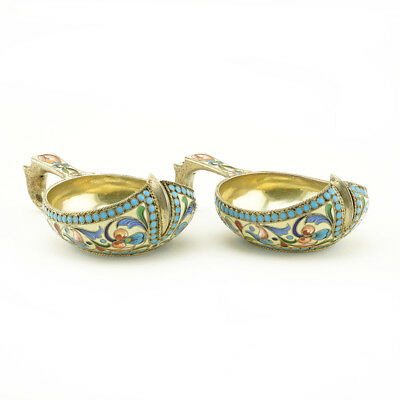 A Fine Pair Of Antique Russian Gilded 84 Silver Shaded Cloisonne Enamel Kovshii