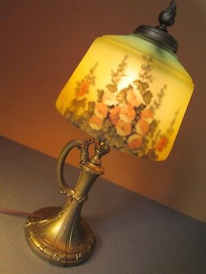 Antique Pittsburgh Style Lamp Reverse Image On Glass Shade Art Nouveau Hollyhock