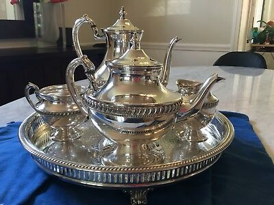 Vintage Silver on Copper Tea Set by Lehman Brothers